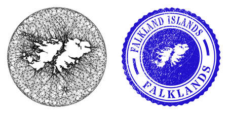 Mesh hole round Falkland Islands map and grunge seal stamp. Falkland Islands map is stencil in a circle stamp seal. Web mesh vector Falkland Islands map in a circle. Blue round textured stamp.