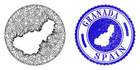 Mesh hole round Granada Province map and scratched seal. Granada Province map is a hole in a circle stamp seal. Web mesh vector Granada Province map in a circle. Blue rounded textured stamp.  イラスト・ベクター素材