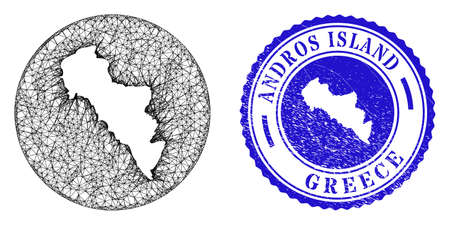 Mesh hole round Andros Island of Greece map and grunge seal stamp. Andros Island of Greece map is inverted in a round seal. Web network vector Andros Island of Greece map in a circle.