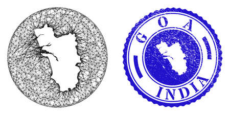Mesh subtracted round Goa State map and scratched seal stamp. Goa State map is a hole in a circle stamp. Web carcass vector Goa State map in a circle. Blue round distress seal stamp. Stock Illustratie