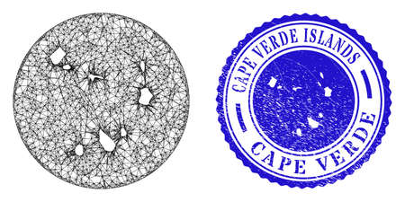 Mesh stencil round Cape Verde Islands map and grunge seal stamp. Cape Verde Islands map is stencil in a round stamp. Web net vector Cape Verde Islands map in a circle. Blue round grunge seal.