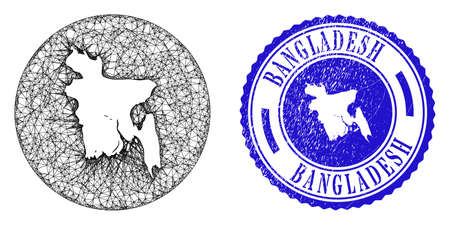 Mesh stencil round Bangladesh map and grunge stamp. Bangladesh map is a hole in a round stamp seal. Web net vector Bangladesh map in a circle. Blue round distress seal stamp.