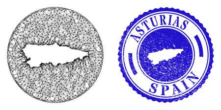Mesh hole round Asturias Province map and scratched seal stamp. Asturias Province map is a hole in a round stamp seal. Web net vector Asturias Province map in a circle. Blue rounded grunge seal stamp. Stock Illustratie
