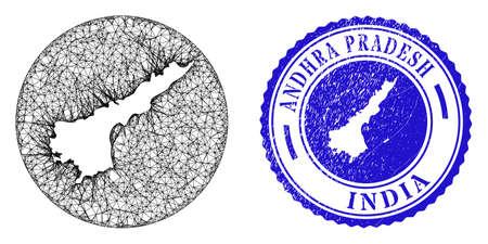 Mesh inverted round Andhra Pradesh State map and scratched seal. Andhra Pradesh State map is inverted in a circle stamp seal. Web mesh vector Andhra Pradesh State map in a circle.