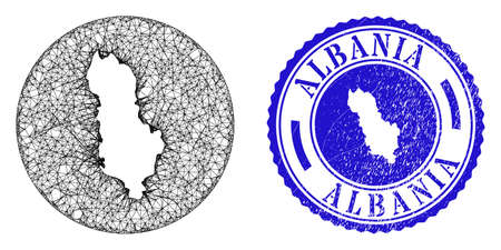 Mesh stencil round Albania map and grunge seal. Albania map is carved in a round seal. Web mesh vector Albania map in a circle. Blue round grunge seal stamp.