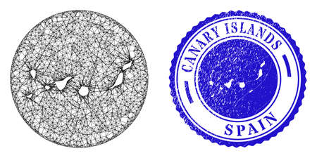 Mesh hole round Canary Islands map and scratched stamp. Canary Islands map is carved in a round stamp seal. Web mesh vector Canary Islands map in a circle. Blue rounded scratched seal stamp.