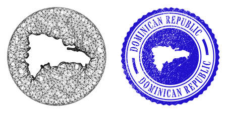 Mesh hole round Dominican Republic map and grunge seal stamp. Dominican Republic map is inverted in a round stamp seal. Web mesh vector Dominican Republic map in a circle. Blue round distress stamp.
