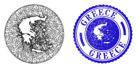 Mesh inverted round Greece map and grunge seal stamp. Greece map is inverted in a round seal. Web net vector Greece map in a circle. Blue round grunge seal stamp.