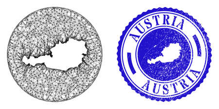 Mesh hole round Austria map and scratched seal stamp. Austria map is a hole in a circle stamp. Web carcass vector Austria map in a circle. Blue round textured seal stamp.