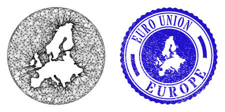 Mesh stencil round Euro Union map and scratched seal stamp. Euro Union map is inverted in a circle stamp seal. Web net vector Euro Union map in a circle. Blue round scratched seal.