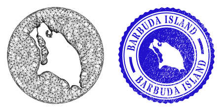 Mesh inverted round Barbuda Island map and scratched stamp. Barbuda Island map is carved in a round stamp seal. Web mesh vector Barbuda Island map in a circle. Blue round textured seal stamp. Stock Illustratie