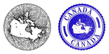 Mesh hole round Canada map and grunge seal. Canada map is a hole in a circle stamp seal. Web mesh vector Canada map in a circle. Blue rounded textured seal stamp.