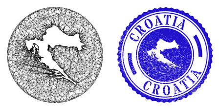 Mesh subtracted round Croatia map and grunge seal. Croatia map is a hole in a circle seal. Web mesh vector Croatia map in a circle. Blue round grunge seal. Stock Illustratie