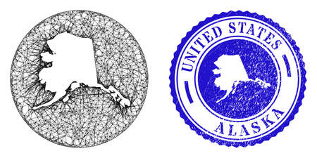 Mesh inverted round Alaska map and scratched seal stamp. Alaska map is a hole in a round stamp seal. Web net vector Alaska map in a circle. Blue round scratched seal stamp.