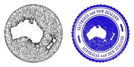 Mesh hole round Australia and New Zealand map and grunge seal stamp. Australia and New Zealand map is subtracted from a circle stamp. Web mesh vector Australia and New Zealand map in a circle.