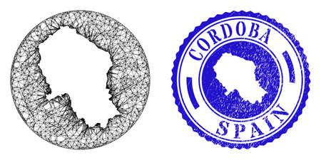 Mesh hole round Cordoba Spanish Province map and grunge seal. Cordoba Spanish Province map is a hole in a round seal. Web mesh vector Cordoba Spanish Province map in a circle. Stock Illustratie