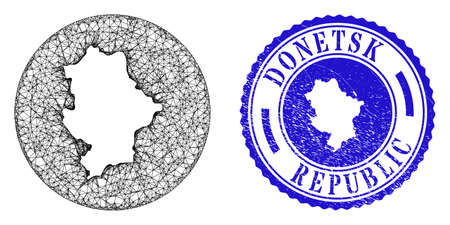 Mesh inverted round Donetsk Republic map and grunge stamp. Donetsk Republic map is inverted in a circle stamp seal. Web mesh vector Donetsk Republic map in a circle. Blue round distress seal stamp.