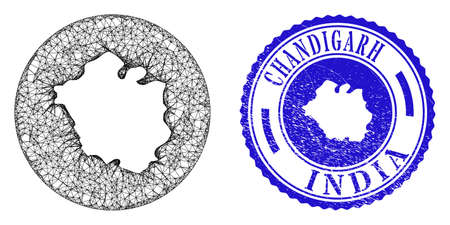 Mesh subtracted round Chandigarh City map and grunge seal stamp. Chandigarh City map is inverted in a round stamp seal. Web carcass vector Chandigarh City map in a circle. Blue round grunge stamp.