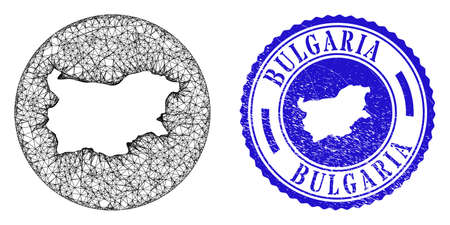 Mesh inverted round Bulgaria map and grunge seal. Bulgaria map is inverted in a round stamp seal. Web mesh vector Bulgaria map in a circle. Blue round scratched stamp.