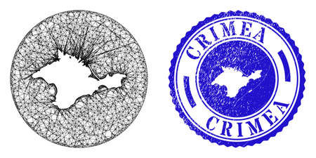 Mesh stencil round Crimea map and scratched seal stamp. Crimea map is a hole in a round stamp seal. Web mesh vector Crimea map in a circle. Blue round grunge seal.