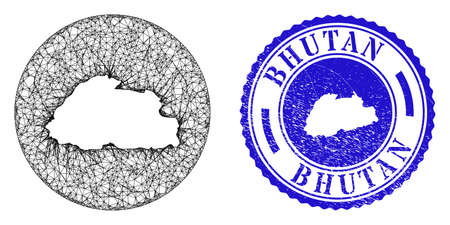 Mesh hole round Bhutan map and grunge seal stamp. Bhutan map is a hole in a round stamp seal. Web mesh vector Bhutan map in a circle. Blue round scratched seal stamp. Stock Illustratie