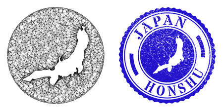 Mesh inverted round Honshu Island map and scratched seal stamp. Honshu Island map is cut out from a circle stamp seal. Web mesh vector Honshu Island map in a circle. Blue round scratched seal.