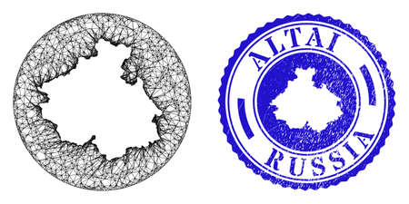 Mesh stencil round Altai Republic map and grunge stamp. Altai Republic map is a hole in a circle stamp seal. Web network vector Altai Republic map in a circle. Blue round textured seal stamp. Stock Illustratie