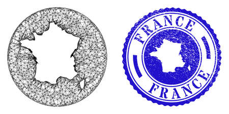 Mesh subtracted round France map and grunge seal stamp. France map is inverted in a round stamp seal. Web mesh vector France map in a circle. Blue round distress seal stamp.