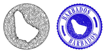Mesh subtracted round Barbados map and scratched seal stamp. Barbados map is subtracted from a circle stamp seal. Web carcass vector Barbados map in a circle. Blue round scratched stamp.