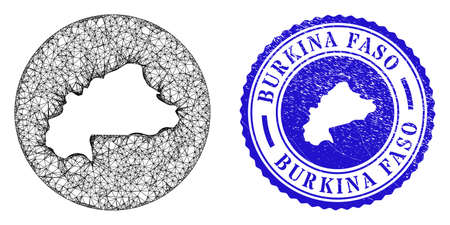 Mesh stencil round Burkina Faso map and grunge seal stamp. Burkina Faso map is a hole in a circle stamp seal. Web network vector Burkina Faso map in a circle. Blue rounded grunge seal stamp. Stock Illustratie