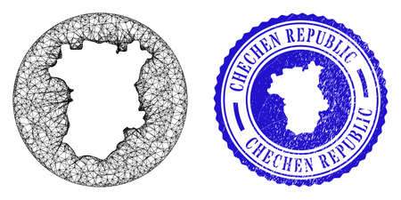 Mesh subtracted round Chechen Republic map and scratched seal stamp. Chechen Republic map is a hole in a round stamp. Web mesh vector Chechen Republic map in a circle. Blue round scratched seal stamp.
