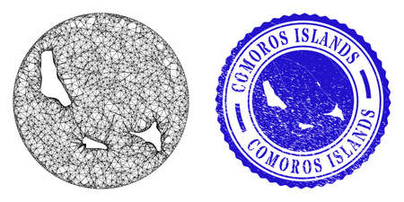 Mesh inverted round Comoros Islands map and scratched seal stamp. Comoros Islands map is carved in a round stamp. Web mesh vector Comoros Islands map in a circle. Blue round scratched seal stamp.