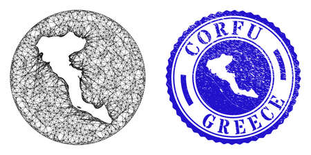 Mesh hole round Corfu Island map and scratched seal stamp. Corfu Island map is stencil in a round stamp seal. Web mesh vector Corfu Island map in a circle. Blue rounded grunge seal stamp.