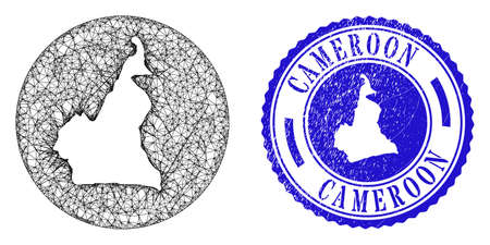 Mesh stencil round Cameroon map and scratched seal stamp. Cameroon map is carved in a round stamp. Web mesh vector Cameroon map in a circle. Blue round grunge seal.