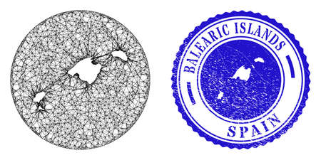 Mesh subtracted round Balearic Islands map and scratched seal stamp. Balearic Islands map is a hole in a round stamp seal. Web carcass vector Balearic Islands map in a circle. Stock Illustratie