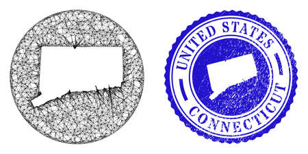 Mesh stencil round Connecticut State map and grunge seal stamp. Connecticut State map is carved in a round stamp seal. Web mesh vector Connecticut State map in a circle. Stock Illustratie