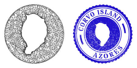 Mesh hole round Corvo Island map and scratched seal stamp. Corvo Island map is a hole in a round stamp seal. Web network vector Corvo Island map in a circle. Blue rounded textured seal. Stock Illustratie