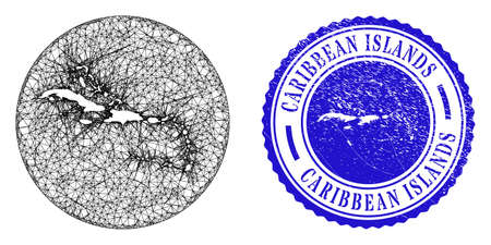Mesh stencil round Caribbean Islands map and scratched seal stamp. Caribbean Islands map is a hole in a round seal. Web carcass vector Caribbean Islands map in a circle.