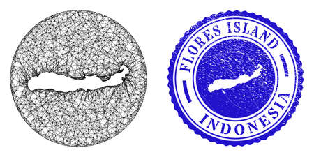 Mesh stencil round Flores Island of Indonesia map and grunge stamp. Flores Island of Indonesia map is inverted in a circle stamp seal. Web mesh vector Flores Island of Indonesia map in a circle.