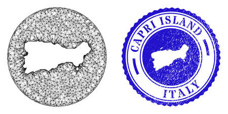 Mesh hole round Capri Island map and scratched seal. Capri Island map is carved in a round stamp seal. Web mesh vector Capri Island map in a circle. Blue round textured seal stamp.