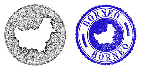 Mesh stencil round Borneo map and scratched stamp. Borneo map is stencil in a round stamp. Web mesh vector Borneo map in a circle. Blue round distress seal stamp.