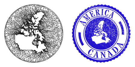 Mesh stencil round Canada v2 map and grunge seal stamp. Canada v2 map is a hole in a circle stamp seal. Web net vector Canada v2 map in a circle. Blue round distress seal stamp.