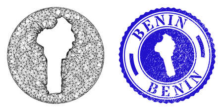 Mesh hole round Benin map and grunge stamp. Benin map is cut out from a round stamp seal. Web mesh vector Benin map in a circle. Blue round grunge watermark. Stock Illustratie