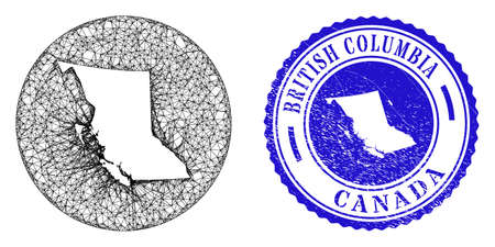 Mesh inverted round British Columbia map and grunge seal. British Columbia map is inverted in a round seal. Web carcass vector British Columbia map in a circle. Blue round scratched stamp.