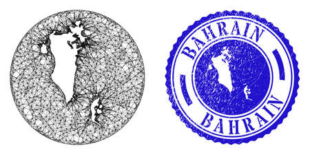 Mesh inverted round Bahrain map and scratched seal stamp. Bahrain map is inverted in a circle stamp seal. Web net vector Bahrain map in a circle. Blue rounded distress seal stamp. Stock Illustratie