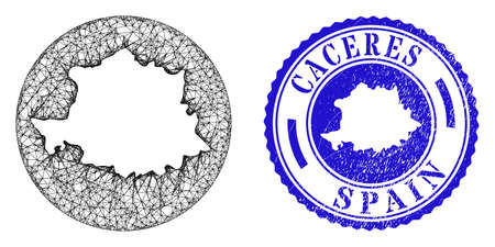 Mesh stencil round Caceres Province map and scratched seal stamp. Caceres Province map is a hole in a round stamp seal. Web mesh vector Caceres Province map in a circle. Blue rounded scratched seal.
