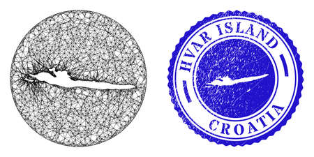Mesh stencil round Hvar Island map and grunge seal stamp. Hvar Island map is a hole in a circle stamp seal. Web carcass vector Hvar Island map in a circle. Blue round textured seal stamp. Stock Illustratie