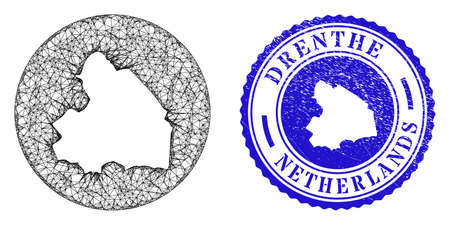 Mesh hole round Drenthe Province map and grunge stamp. Drenthe Province map is a hole in a circle stamp seal. Web mesh vector Drenthe Province map in a circle. Blue rounded scratched stamp.