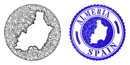 Mesh hole round Almeria Province map and grunge seal stamp. Almeria Province map is inverted in a round stamp seal. Web mesh vector Almeria Province map in a circle. Blue round distress seal stamp.