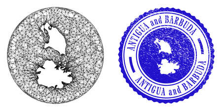 Mesh subtracted round Antigua and Barbuda map and scratched stamp. Antigua and Barbuda map is a hole in a circle seal. Web mesh vector Antigua and Barbuda map in a circle. Ilustração